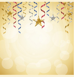 Celebration streamer golden background vector