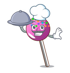 Chef with food lollipop with sprinkles mascot vector