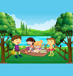 children having picnic by the river vector image