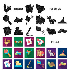 Children toy flat icons in set collection for vector