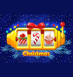christmas golden slot machine with garland vector image