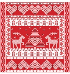 Christmas Nordic tile style pattern with reindeer vector image