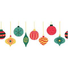 Christmas ornaments seamless border vector