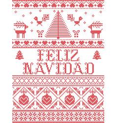 Christmas pattern feliz navidad seamless vector