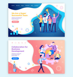 Collaboration idea people team with prize in hands vector