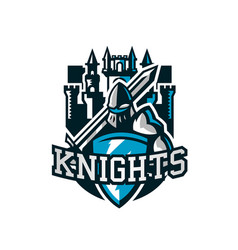 colorful logo knight s emblem in iron armor a vector image