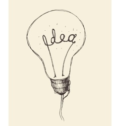 Concept Creative Light Bulb Icon Doodle Hand Drawn vector image
