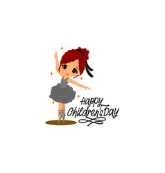 Cute ballerina girl dancer character training vector