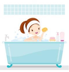 Cute girl bathing in bathtub in bathroom vector