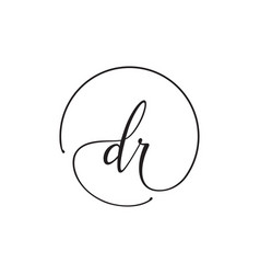 D r lowercase letter handwriting circle logo vector
