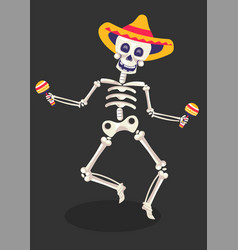 day dead symbol skeleton in sombrero with vector image