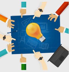 developing idea together make plan teamwork in vector image