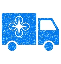 Drone Delivery Van Grainy Texture Icon vector