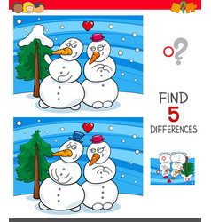 find differences game with snowmen vector image