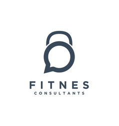Fitness gym chat logo with kettlebell shape logo vector