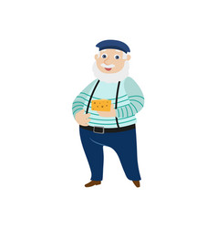 Flat man cheese beret pants on suspenders vector