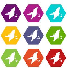 Florida map icon set color hexahedron vector