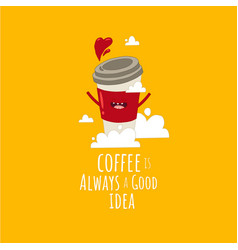 funny image flying cup coffee with love vector image