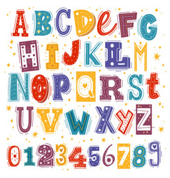 funny kids font comic childish latin letters vector image