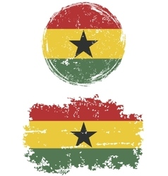 Ghanaian round and square grunge flags vector image