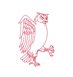 Great horned owl marching drawing vector
