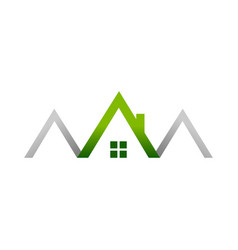 Green house realty house logo symbol design vector