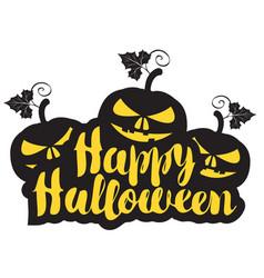 halloween calligraphic inscription with pumpkins vector image
