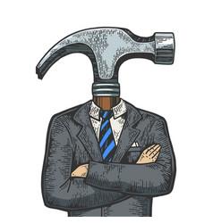 Hammer head businessman sketch engraving vector
