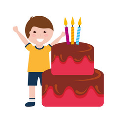 happy boy birthday cake with candles vector image