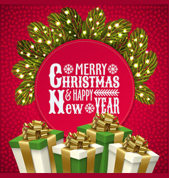 happy new year christmas card gift box garland vector image