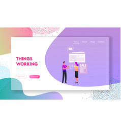 Hard sell consumerism landing page template vector