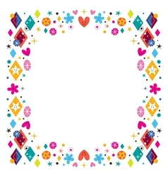 Hearts stars flowers and diamond shapes happy vector