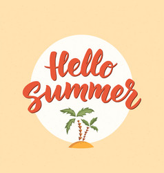hello summer text with beach design elements vector image