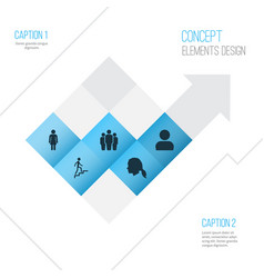 Human icons set collection of ladder female vector