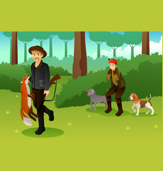 hunters with his dogs hunting a fox vector image