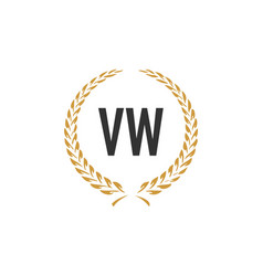 Initial letter vw wheat luxurious minimalist vector