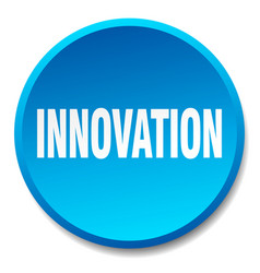 Innovation blue round flat isolated push button vector