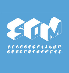isometry letters set 3d isometric simple style vector image