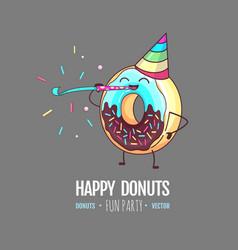 Kawaii funny donut celebrating birthday vector