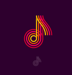 logo music red note four lines vector image