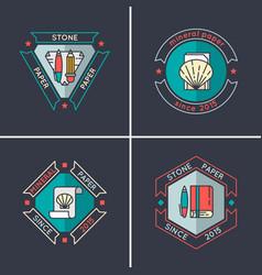 Logo set stone paper vector