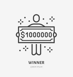 Lottery winner holding one million dollar check vector