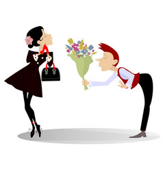 man woman and bunch of flowers vector image