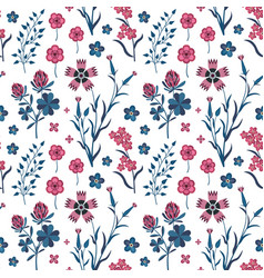meadow wildflowers and herbs botanical pattern vector image