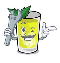 Mechanic mint julep mascot cartoon vector
