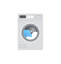 modern washing machine with dirty clothes during vector image