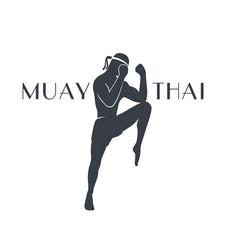 muay thai athlete silhouette on white vector image