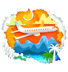 Paper art with sun and aircraft vector