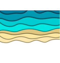 paper cut banners with 3d abstract sea shore sand vector image