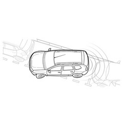 Parking car line vector